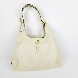 COACH Madison Maggie Cream Shoulder Bag